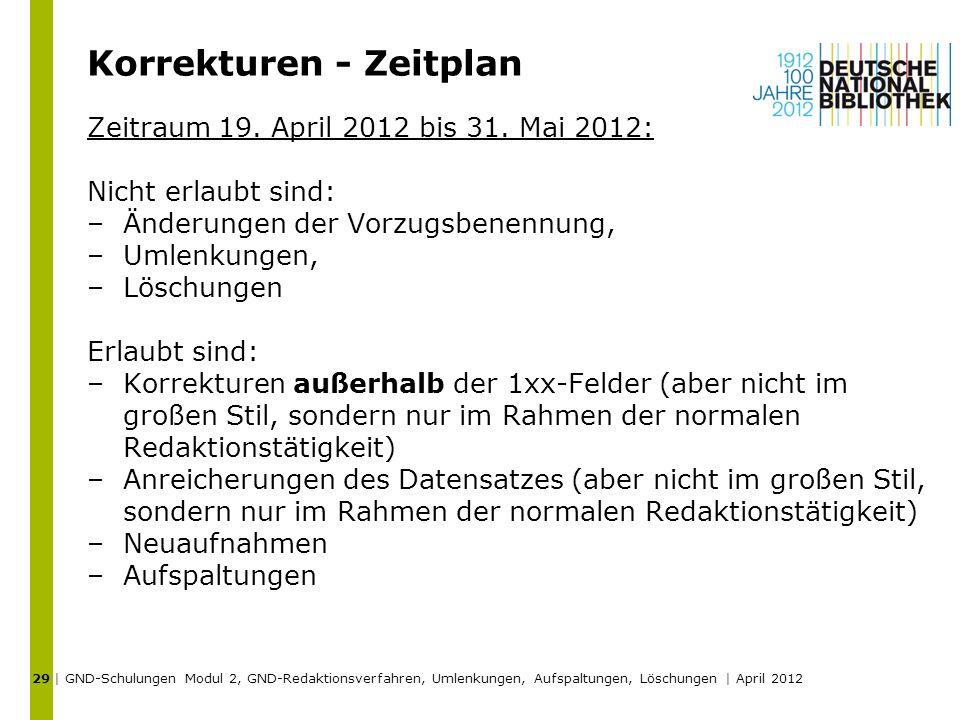Korrekturen - Zeitplan Zeitraum 19. April 2012 bis 31. Mai 2012: Nicht erlaubt sind: –Änderungen der Vorzugsbenennung, –Umlenkungen, –Löschungen Erlau