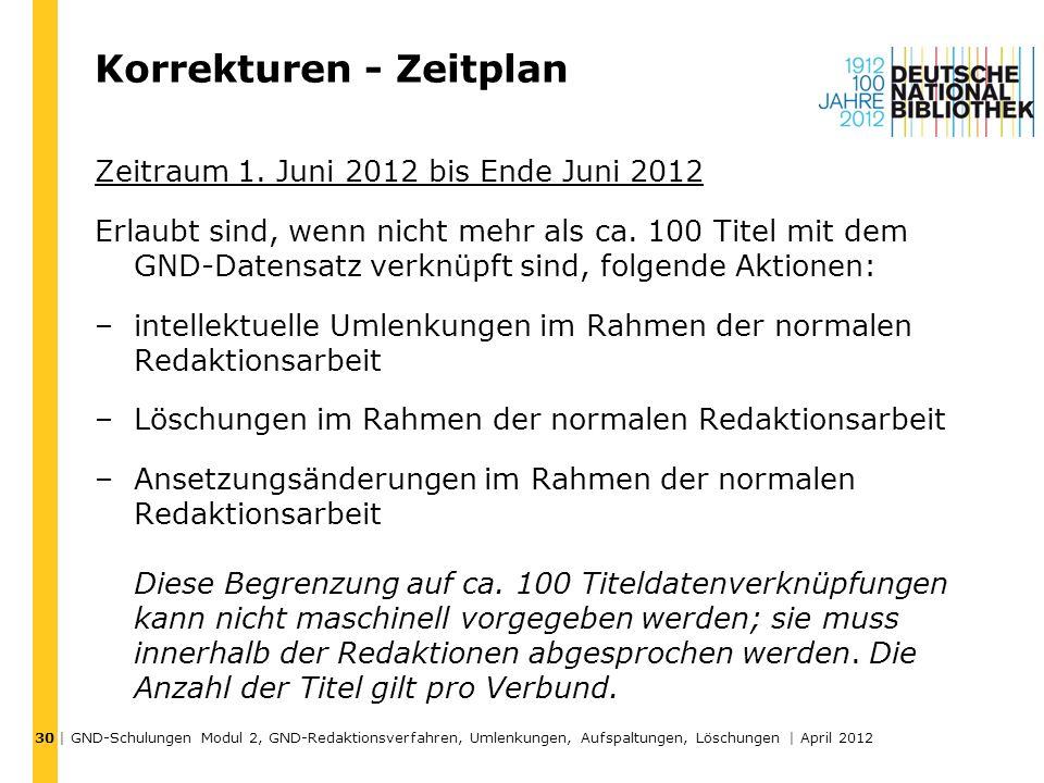 Korrekturen - Zeitplan Zeitraum 1. Juni 2012 bis Ende Juni 2012 Erlaubt sind, wenn nicht mehr als ca. 100 Titel mit dem GND-Datensatz verknüpft sind,