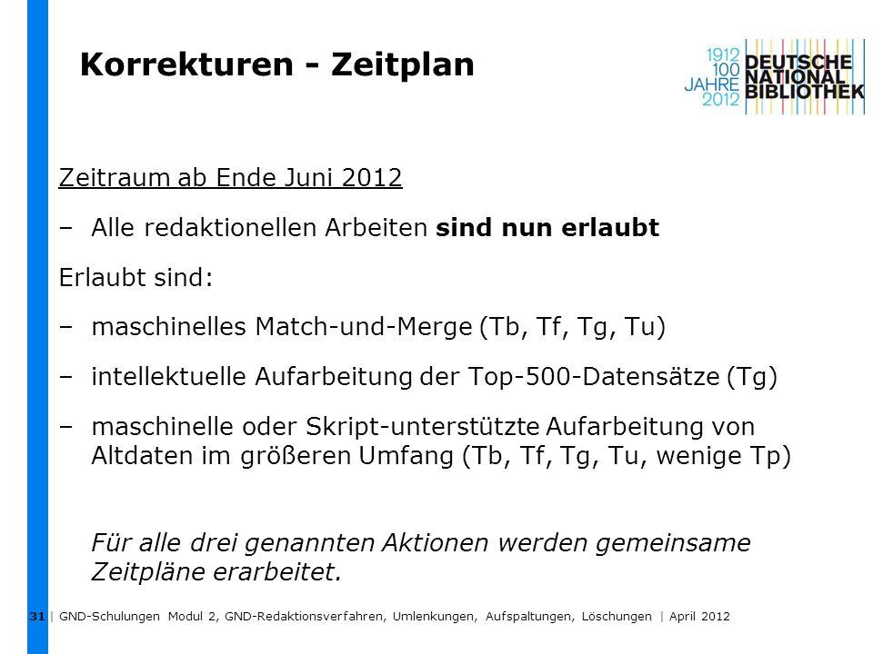 Korrekturen - Zeitplan Zeitraum ab Ende Juni 2012 –Alle redaktionellen Arbeiten sind nun erlaubt Erlaubt sind: –maschinelles Match-und-Merge (Tb, Tf,