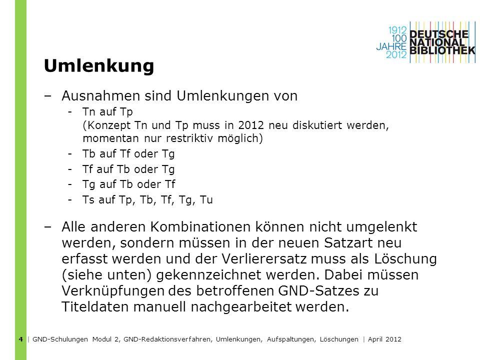 Umlenkung –Ausnahmen sind Umlenkungen von -Tn auf Tp (Konzept Tn und Tp muss in 2012 neu diskutiert werden, momentan nur restriktiv möglich) -Tb auf T