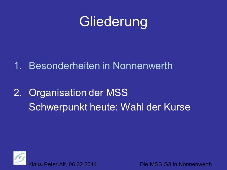 Klaus-Peter Alt, 06.02.2014 Die MSS G8 in Nonnenwerth Gliederung 1.Besonderheiten in Nonnenwerth 2.Organisation der MSS Schwerpunkt heute: Wahl der Kurse