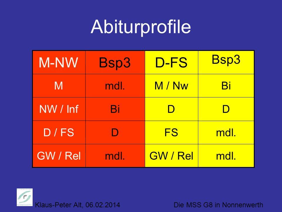 Klaus-Peter Alt, 06.02.2014 Die MSS G8 in Nonnenwerth Abiturprofile mdl.GW / Relmdl.GW / Rel mdl.FSDD / FS DDBiNW / Inf BiM / Nwmdl.M Bsp3 D-FSBsp3M-N