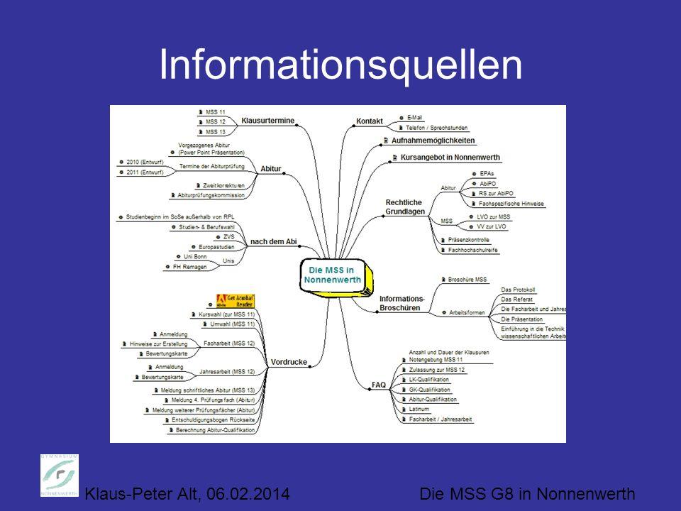 Klaus-Peter Alt, 06.02.2014 Die MSS G8 in Nonnenwerth Informationsquellen