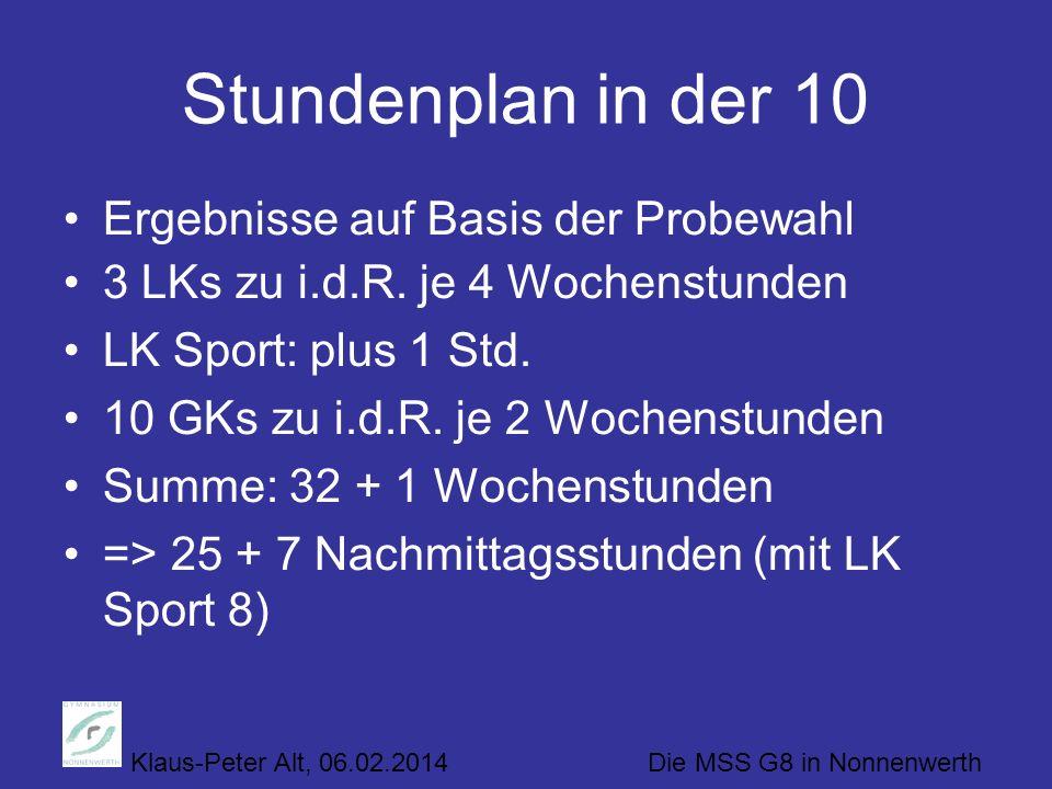 Klaus-Peter Alt, 06.02.2014 Die MSS G8 in Nonnenwerth Stundenplan in der 10 Ergebnisse auf Basis der Probewahl 3 LKs zu i.d.R. je 4 Wochenstunden LK S