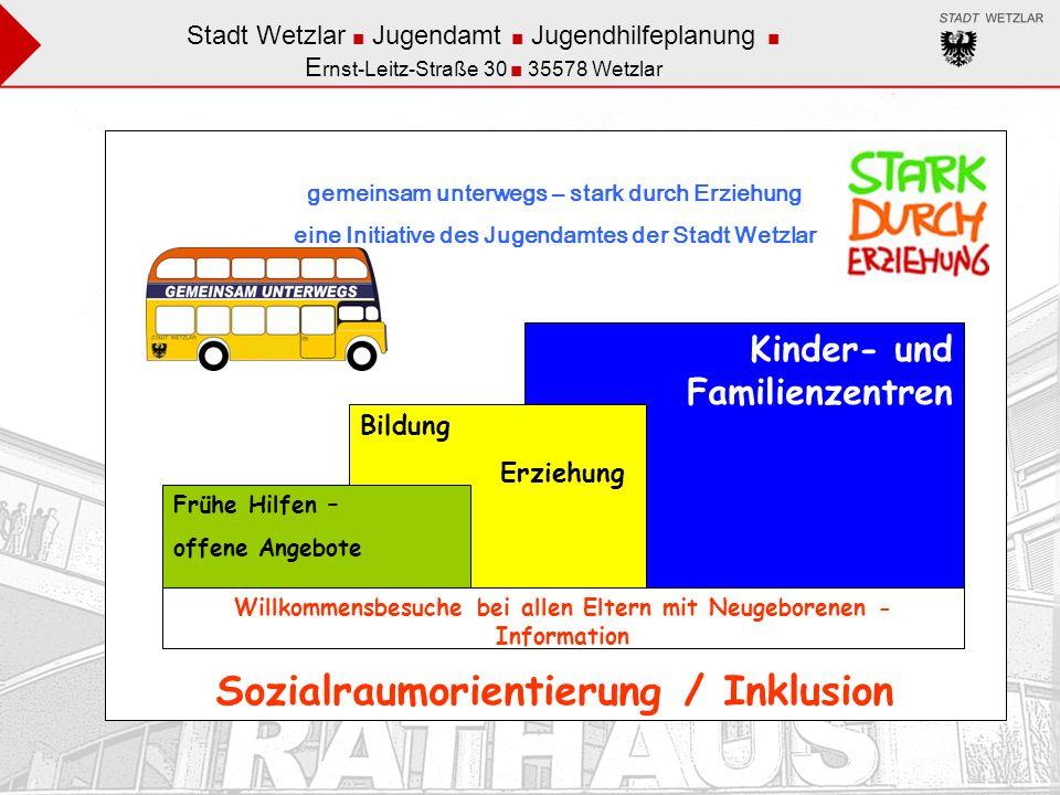 Stadt Wetzlar Jugendamt Jugendhilfeplanung Elke Eichler Ernst-Leitz-Straße 30 35578 Wetzlar Arbeitsprinzipien / Grundhaltungen Sozialraumorientierung Inklusion