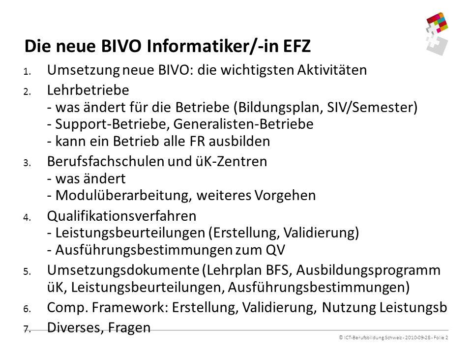© ICT-Berufsbildung Schweiz - 2010-09-28 - Folie 2 Die neue BIVO Informatiker/-in EFZ 1.