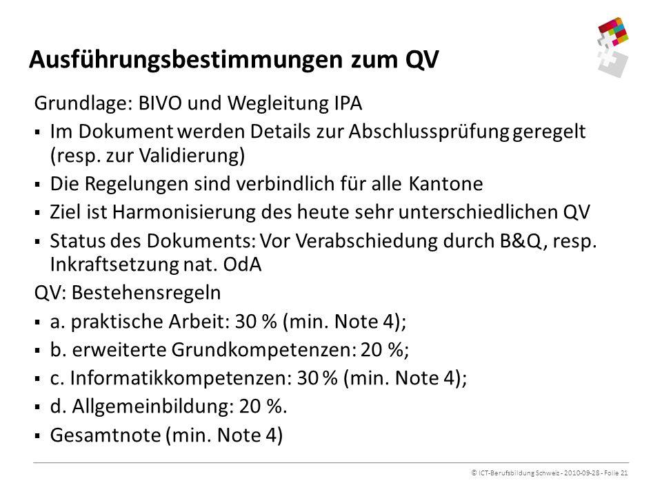 © ICT-Berufsbildung Schweiz - 2010-09-28 - Folie 21 Ausführungsbestimmungen zum QV Grundlage: BIVO und Wegleitung IPA Im Dokument werden Details zur Abschlussprüfung geregelt (resp.