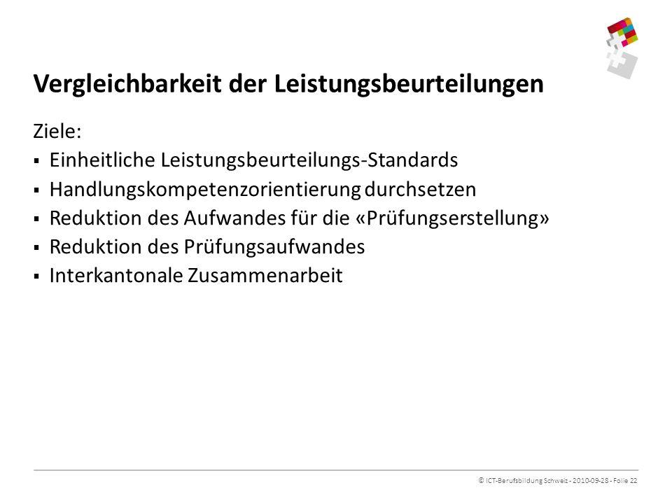 © ICT-Berufsbildung Schweiz - 2010-09-28 - Folie 22 Vergleichbarkeit der Leistungsbeurteilungen Ziele: Einheitliche Leistungsbeurteilungs-Standards Handlungskompetenzorientierung durchsetzen Reduktion des Aufwandes für die «Prüfungserstellung» Reduktion des Prüfungsaufwandes Interkantonale Zusammenarbeit