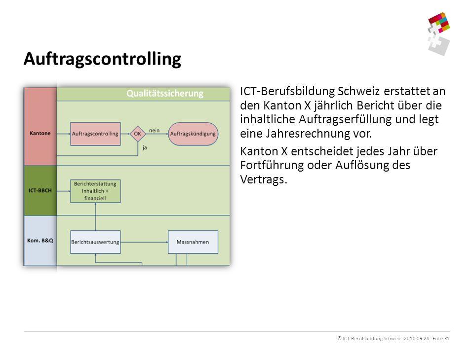 © ICT-Berufsbildung Schweiz - 2010-09-28 - Folie 31 Auftragscontrolling ICT-Berufsbildung Schweiz erstattet an den Kanton X jährlich Bericht über die inhaltliche Auftragserfüllung und legt eine Jahresrechnung vor.