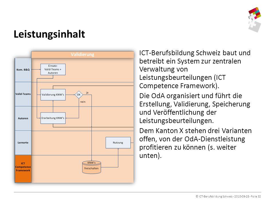 © ICT-Berufsbildung Schweiz - 2010-09-28 - Folie 32 Leistungsinhalt ICT-Berufsbildung Schweiz baut und betreibt ein System zur zentralen Verwaltung von Leistungsbeurteilungen (ICT Competence Framework).