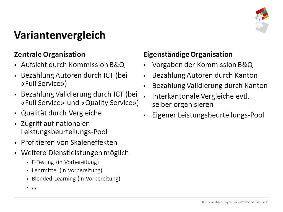 © ICT-Berufsbildung Schweiz - 2010-09-28 - Folie 36 Variantenvergleich Zentrale Organisation Aufsicht durch Kommission B&Q Bezahlung Autoren durch ICT (bei «Full Service») Bezahlung Validierung durch ICT (bei «Full Service» und «Quality Service») Qualität durch Vergleiche Zugriff auf nationalen Leistungsbeurteilungs-Pool Profitieren von Skaleneffekten Weitere Dienstleistungen möglich E-Testing (in Vorbereitung) Lehrmittel (in Vorbereitung) Blended Learning (in Vorbereitung)...