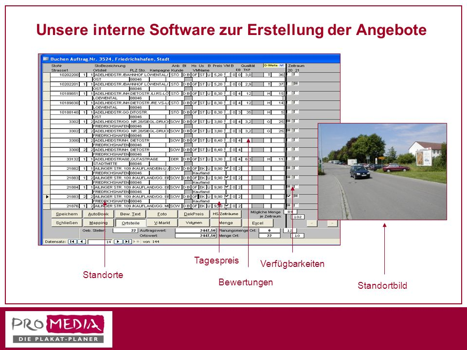 Unsere interne Software zur Erstellung der Angebote Standorte Tagespreis Bewertungen Verfügbarkeiten Standortbild
