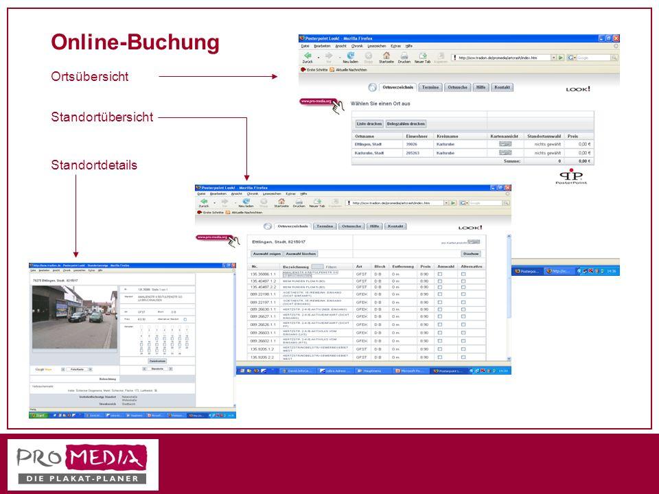 Online-Buchung Ortsübersicht Standortübersicht Standortdetails