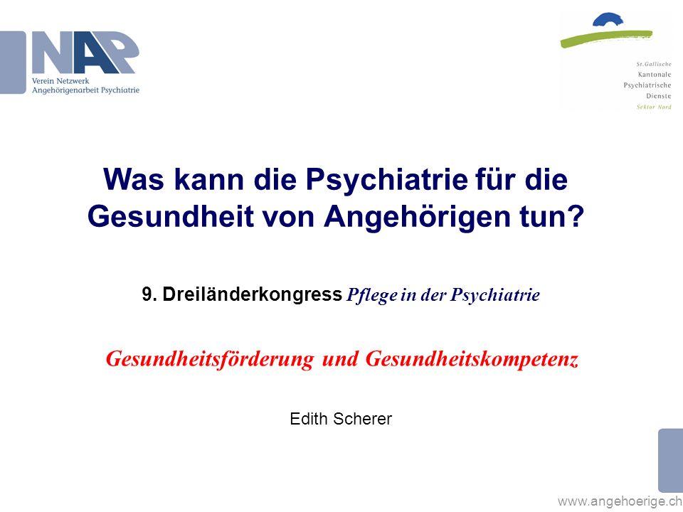 www.angehoerige.ch Belastungen von Angehörigen Angehörige von Menschen mit psychischen Erkrankungen weisen ein höheres Ausmass an Stress auf, leiden häufiger an Depressionen, zeigen eine geringere Lebensqualität und eine schlechte körperliche Gesundheit.