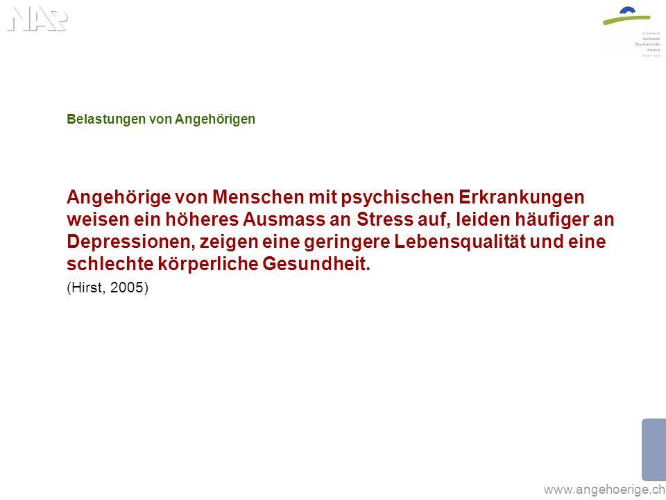 www.angehoerige.ch Belastungen von Angehörigen Angehörige von Menschen mit psychischen Erkrankungen weisen ein höheres Ausmass an Stress auf, leiden h