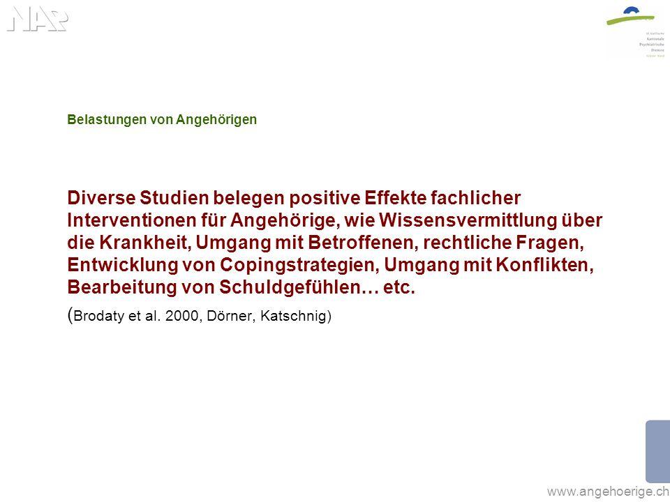 www.angehoerige.ch Belastungen von Angehörigen Diverse Studien belegen positive Effekte fachlicher Interventionen für Angehörige, wie Wissensvermittlu