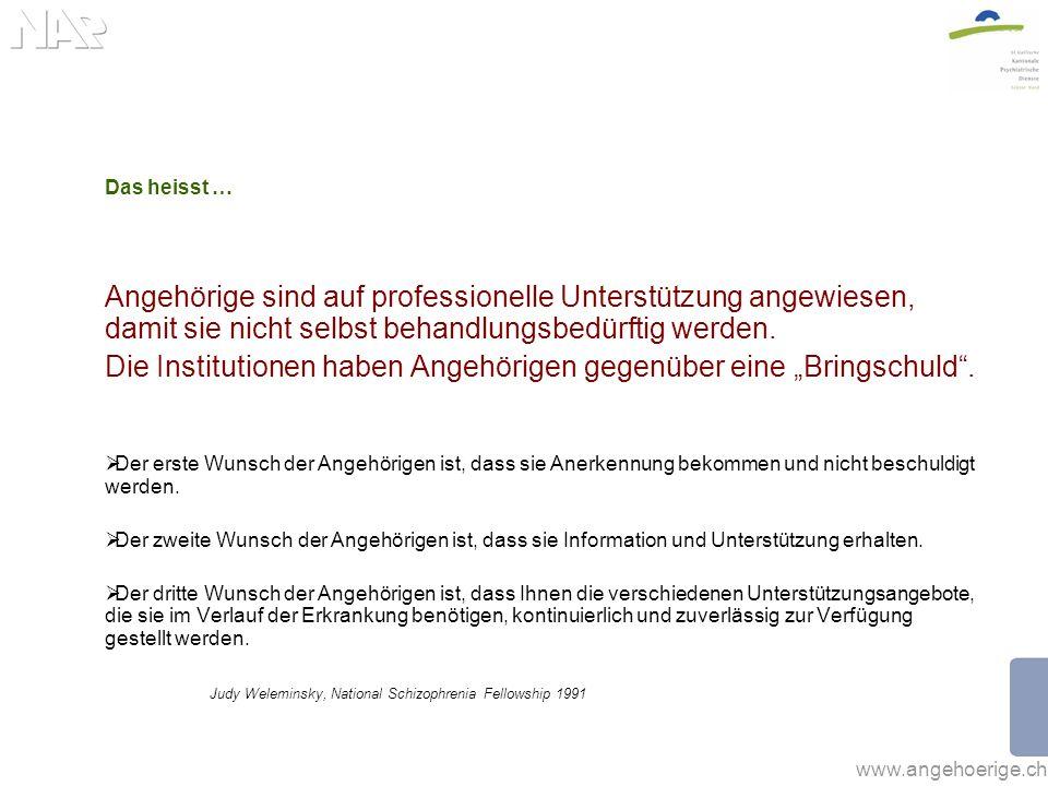 www.angehoerige.ch Das heisst … Angehörige sind auf professionelle Unterstützung angewiesen, damit sie nicht selbst behandlungsbedürftig werden. Die I