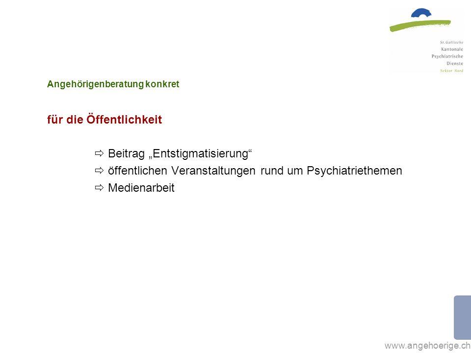 www.angehoerige.ch Angehörigenberatung konkret für die Öffentlichkeit Beitrag Entstigmatisierung öffentlichen Veranstaltungen rund um Psychiatriethemen Medienarbeit