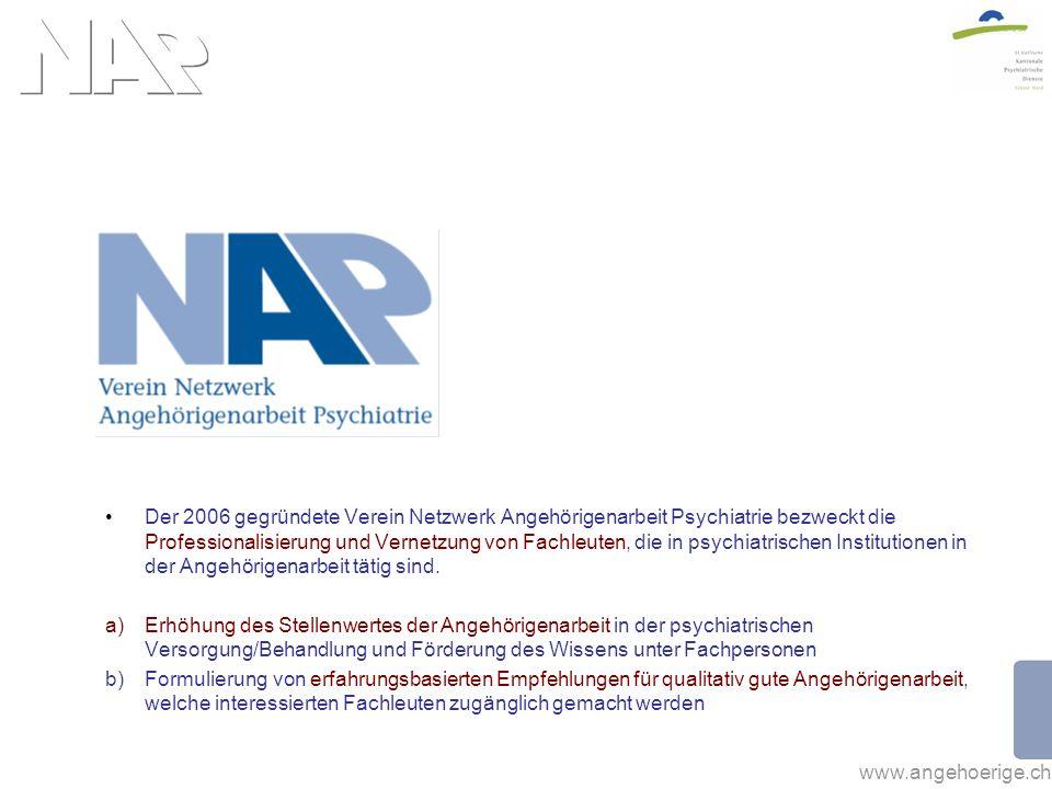www.angehoerige.ch Der 2006 gegründete Verein Netzwerk Angehörigenarbeit Psychiatrie bezweckt die Professionalisierung und Vernetzung von Fachleuten, die in psychiatrischen Institutionen in der Angehörigenarbeit tätig sind.