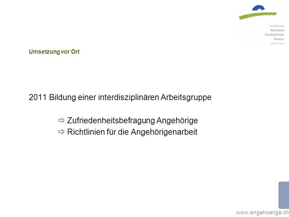 www.angehoerige.ch Umsetzung vor Ort 2011 Bildung einer interdisziplinären Arbeitsgruppe Zufriedenheitsbefragung Angehörige Richtlinien für die Angehö