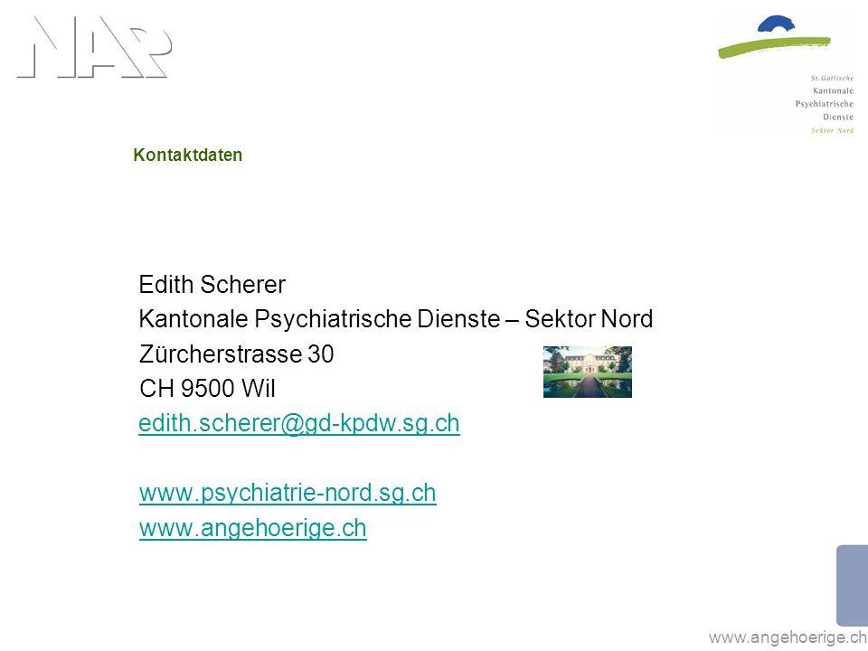 www.angehoerige.ch Kontaktdaten Edith Scherer Kantonale Psychiatrische Dienste – Sektor Nord Zürcherstrasse 30 CH 9500 Wil edith.scherer@gd-kpdw.sg.ch www.psychiatrie-nord.sg.ch www.angehoerige.ch