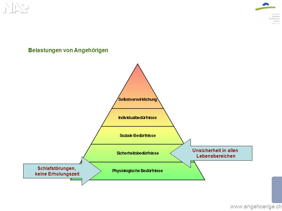 www.angehoerige.ch Belastungen von Angehörigen Schlafstörungen, keine Erholungszeit Unsicherheit in allen Lebensbereichen Einsamkeit & soziale Isolation
