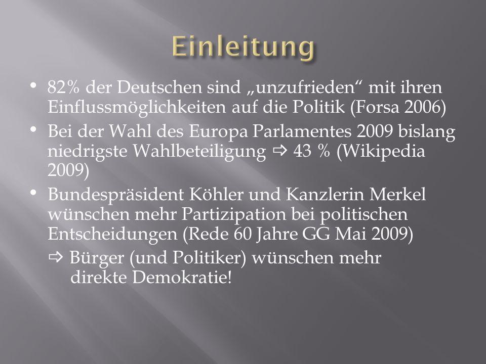 82% der Deutschen sind unzufrieden mit ihren Einflussmöglichkeiten auf die Politik (Forsa 2006) Bei der Wahl des Europa Parlamentes 2009 bislang niedr