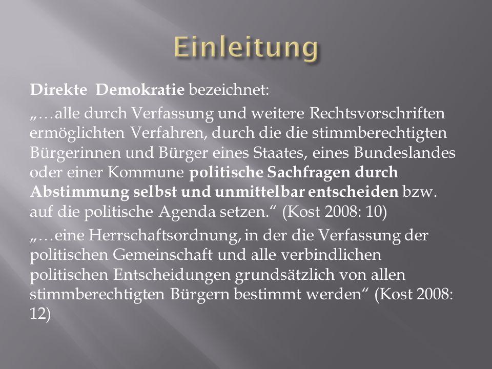 Direkte Demokratie bezeichnet: …alle durch Verfassung und weitere Rechtsvorschriften ermöglichten Verfahren, durch die die stimmberechtigten Bürgerinn