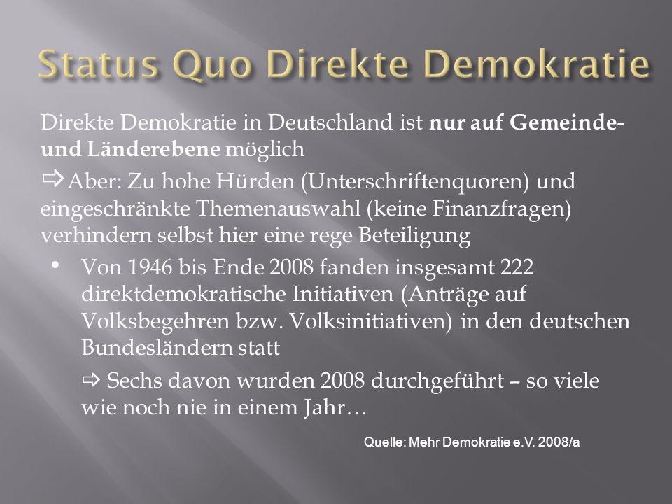 Direkte Demokratie in Deutschland ist nur auf Gemeinde- und Länderebene möglich Aber: Zu hohe Hürden (Unterschriftenquoren) und eingeschränkte Themena