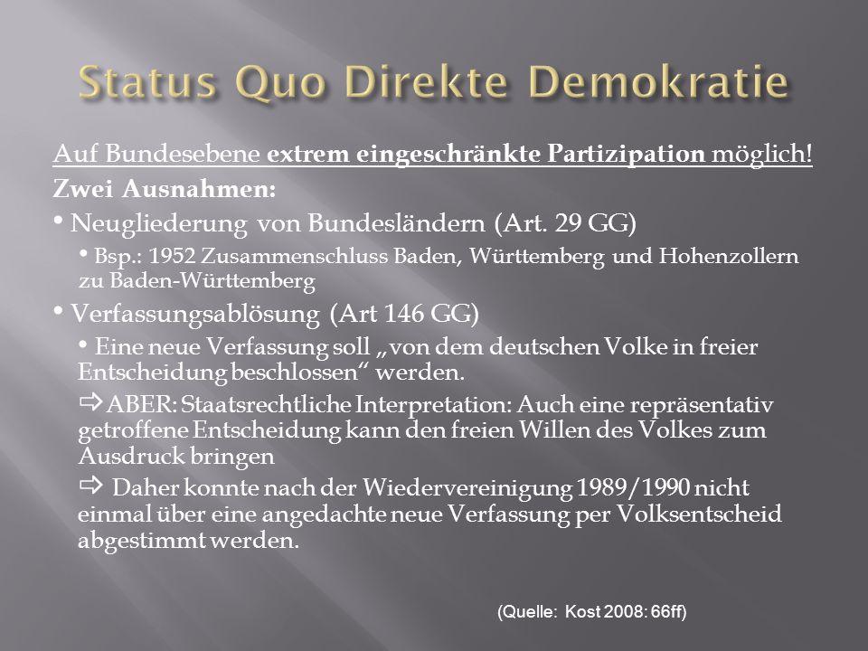 Auf Bundesebene extrem eingeschränkte Partizipation möglich! Zwei Ausnahmen: Neugliederung von Bundesländern (Art. 29 GG) Bsp.: 1952 Zusammenschluss B