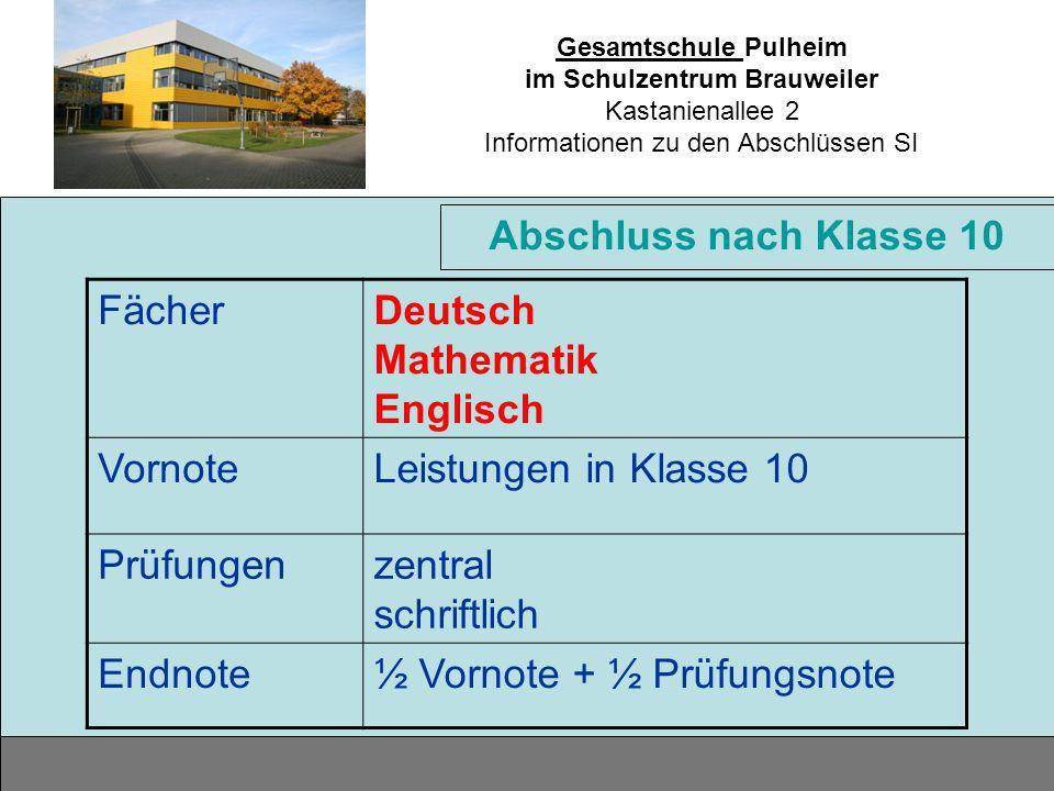 Gesamtschule Pulheim im Schulzentrum Brauweiler Kastanienallee 2 Informationen zu den Abschlüssen SI Abschluss nach Klasse 10 FächerDeutsch Mathematik