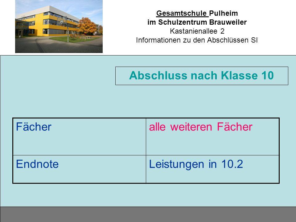 Gesamtschule Pulheim im Schulzentrum Brauweiler Kastanienallee 2 Informationen zu den Abschlüssen SI Fächeralle weiteren Fächer EndnoteLeistungen in 1