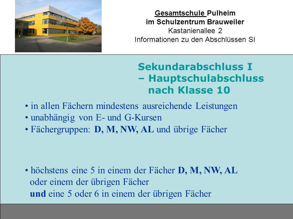 Gesamtschule Pulheim im Schulzentrum Brauweiler Kastanienallee 2 Informationen zu den Abschlüssen SI in allen Fächern mindestens ausreichende Leistung