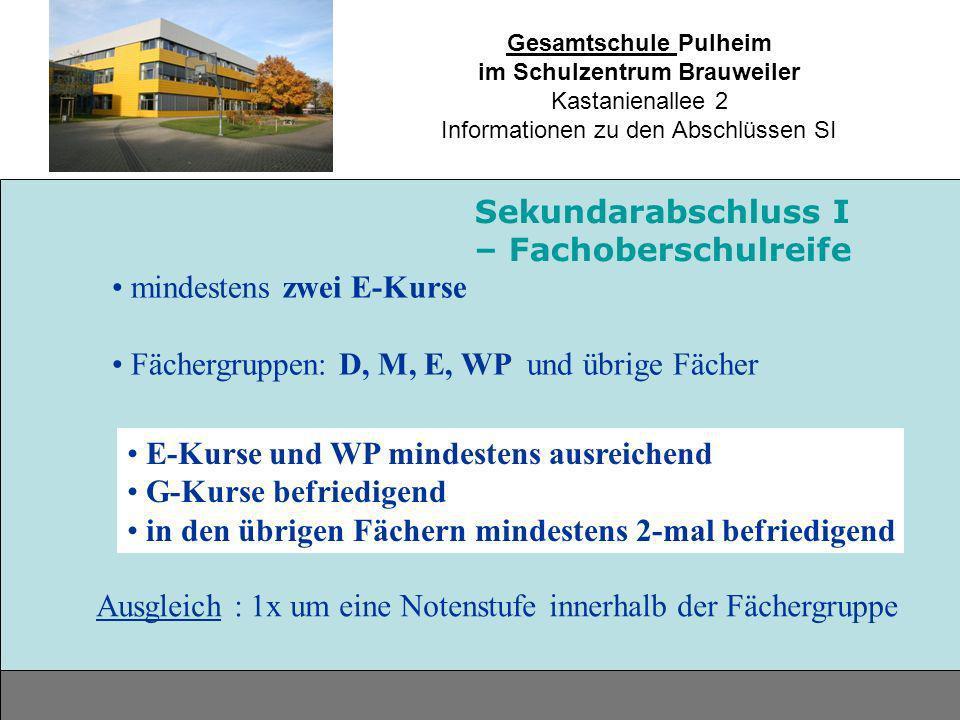 Gesamtschule Pulheim im Schulzentrum Brauweiler Kastanienallee 2 Informationen zu den Abschlüssen SI mindestens zwei E-Kurse Fächergruppen: D, M, E, W