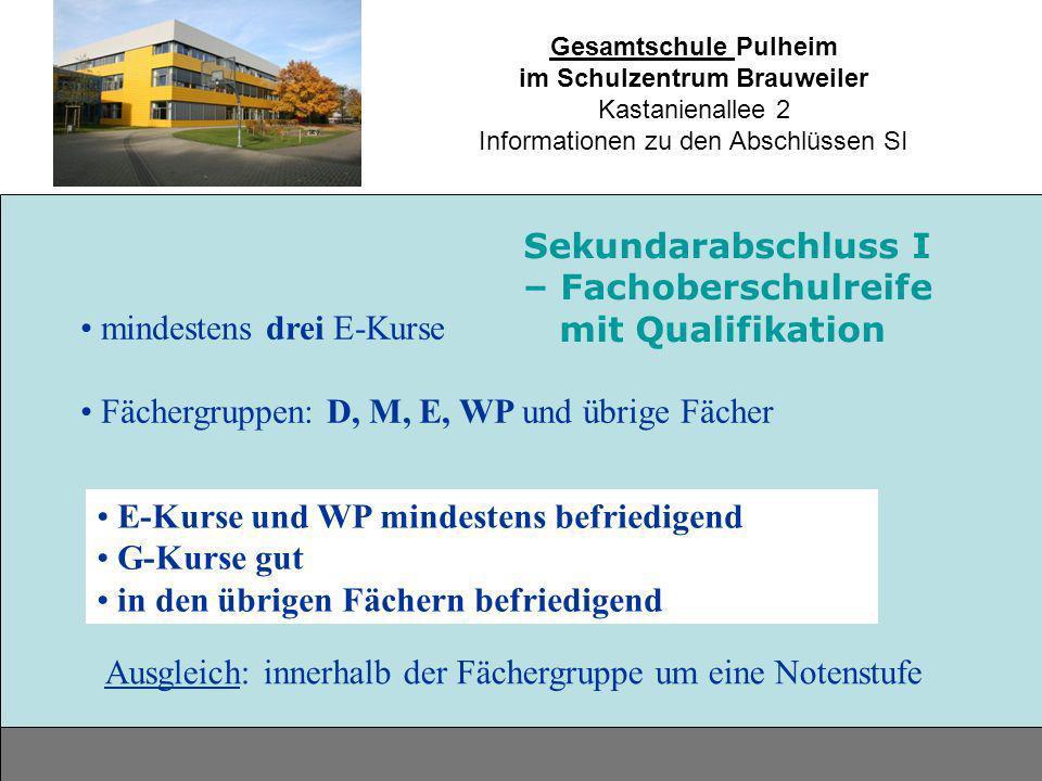 Gesamtschule Pulheim im Schulzentrum Brauweiler Kastanienallee 2 Informationen zu den Abschlüssen SI mindestens drei E-Kurse Fächergruppen: D, M, E, W