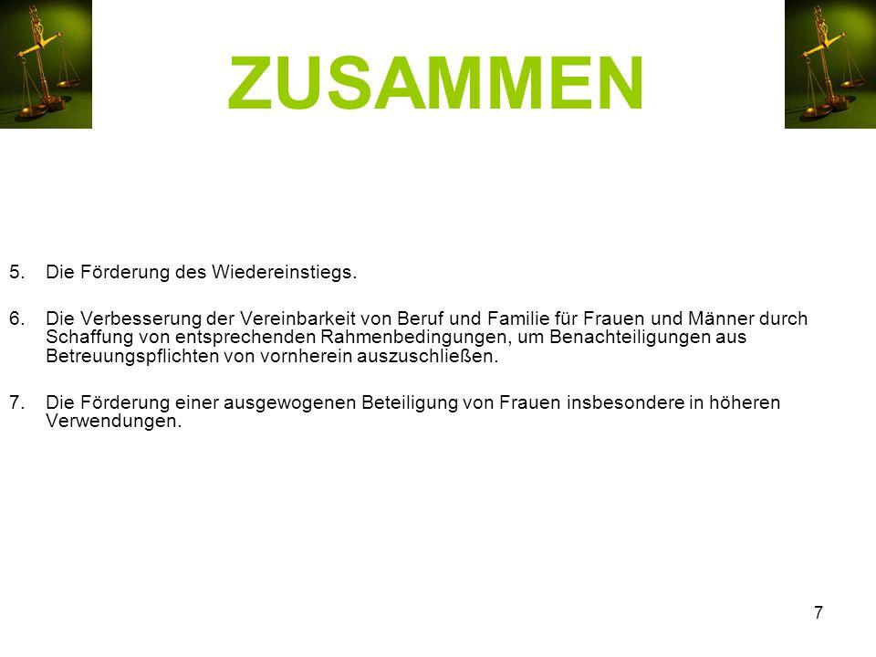 ZUSAMMEN 5.Die Förderung des Wiedereinstiegs.