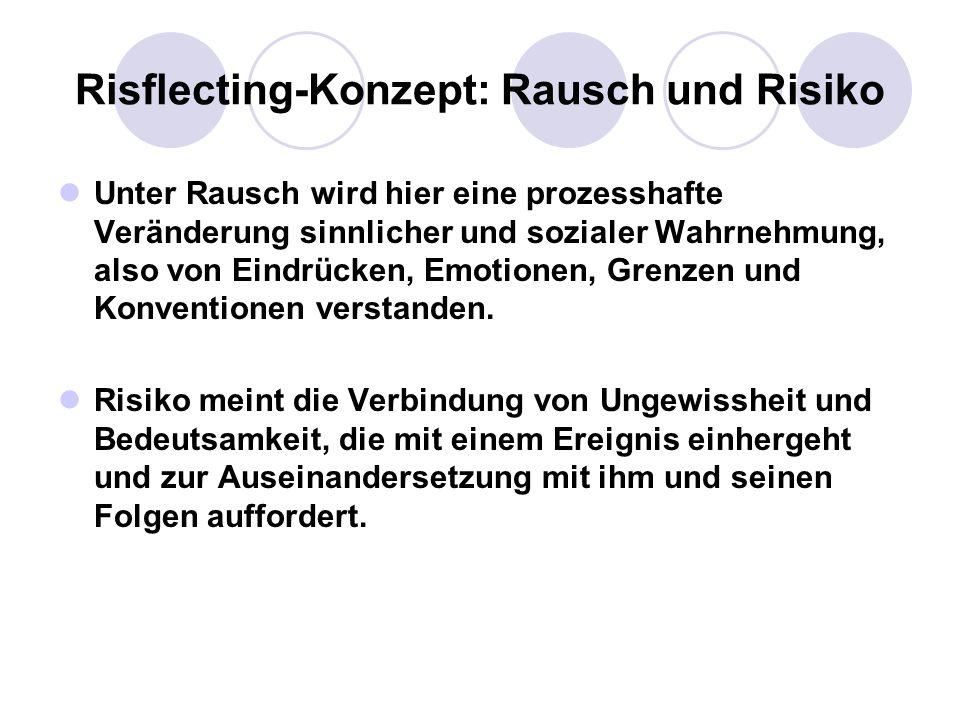 Risflecting-Konzept: Rausch und Risiko Unter Rausch wird hier eine prozesshafte Veränderung sinnlicher und sozialer Wahrnehmung, also von Eindrücken,