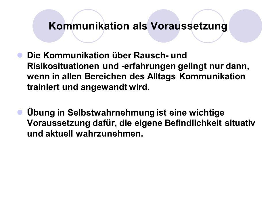 Kommunikation als Voraussetzung Die Kommunikation über Rausch- und Risikosituationen und -erfahrungen gelingt nur dann, wenn in allen Bereichen des Al