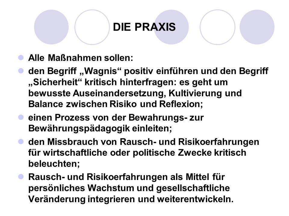 DIE PRAXIS Alle Maßnahmen sollen: den Begriff Wagnis positiv einführen und den Begriff Sicherheit kritisch hinterfragen: es geht um bewusste Auseinand