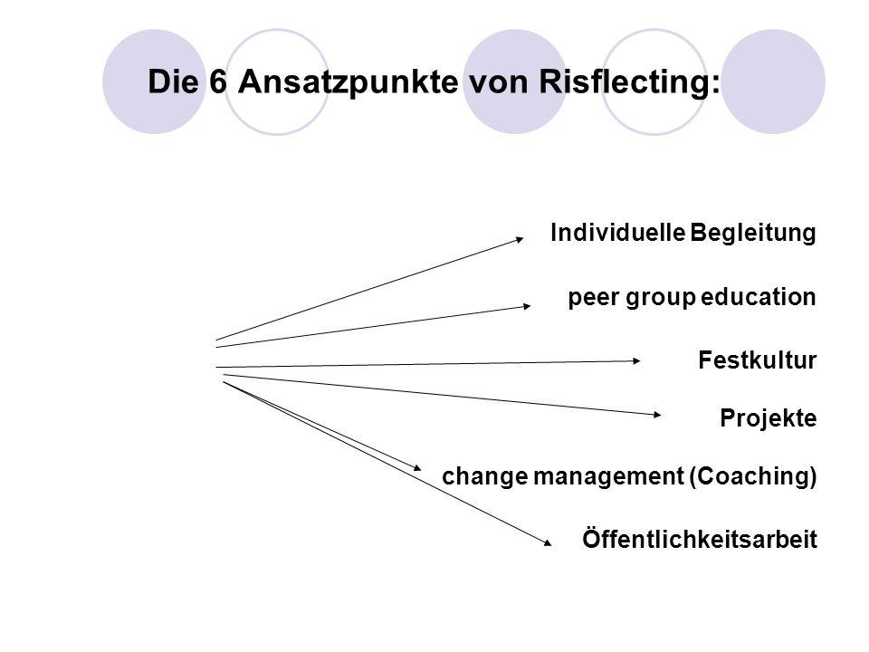 Die 6 Ansatzpunkte von Risflecting: Individuelle Begleitung peer group education Festkultur Projekte change management (Coaching) Öffentlichkeitsarbei