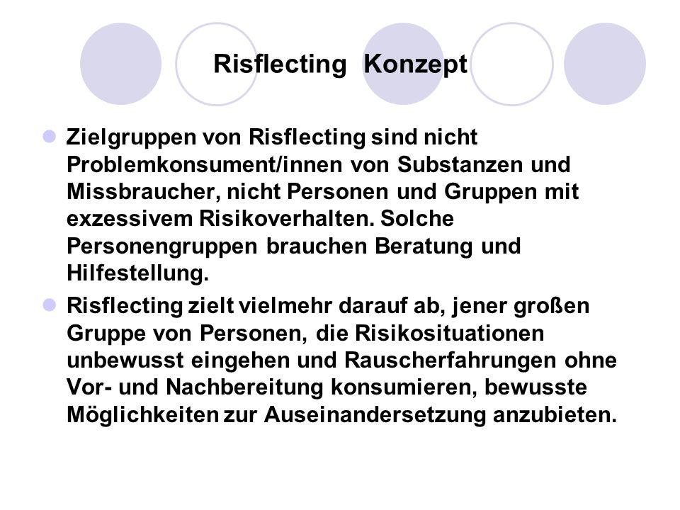 Risflecting Konzept Zielgruppen von Risflecting sind nicht Problemkonsument/innen von Substanzen und Missbraucher, nicht Personen und Gruppen mit exze