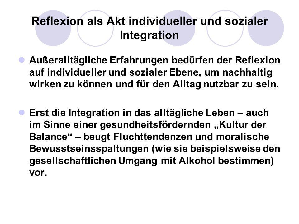 Reflexion als Akt individueller und sozialer Integration Außeralltägliche Erfahrungen bedürfen der Reflexion auf individueller und sozialer Ebene, um