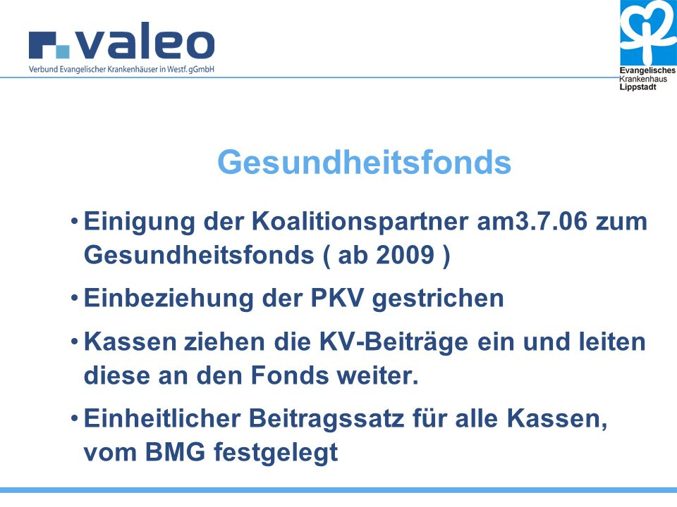 Gesundheitsfonds Einigung der Koalitionspartner am3.7.06 zum Gesundheitsfonds ( ab 2009 ) Einbeziehung der PKV gestrichen Kassen ziehen die KV-Beiträge ein und leiten diese an den Fonds weiter.