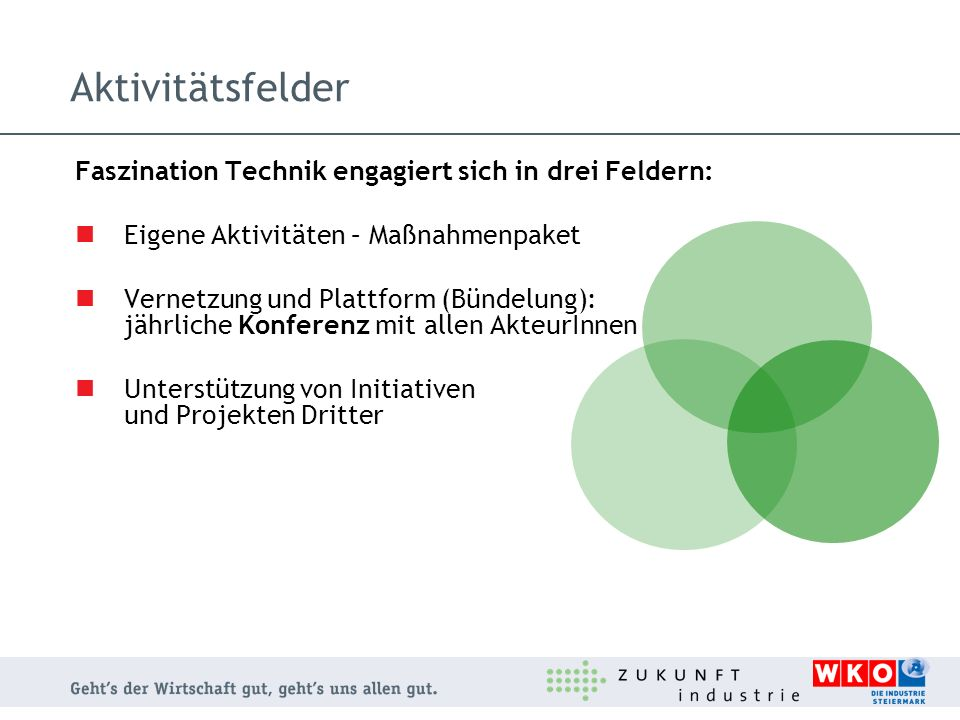 Aktivitätsfelder Faszination Technik engagiert sich in drei Feldern: Eigene Aktivitäten – Maßnahmenpaket Vernetzung und Plattform (Bündelung): jährlic