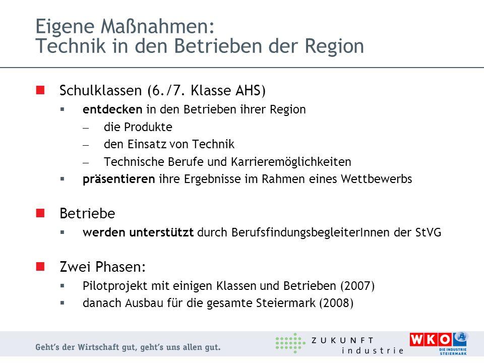 Eigene Maßnahmen: Technik in den Betrieben der Region Schulklassen (6./7. Klasse AHS) entdecken in den Betrieben ihrer Region – die Produkte – den Ein