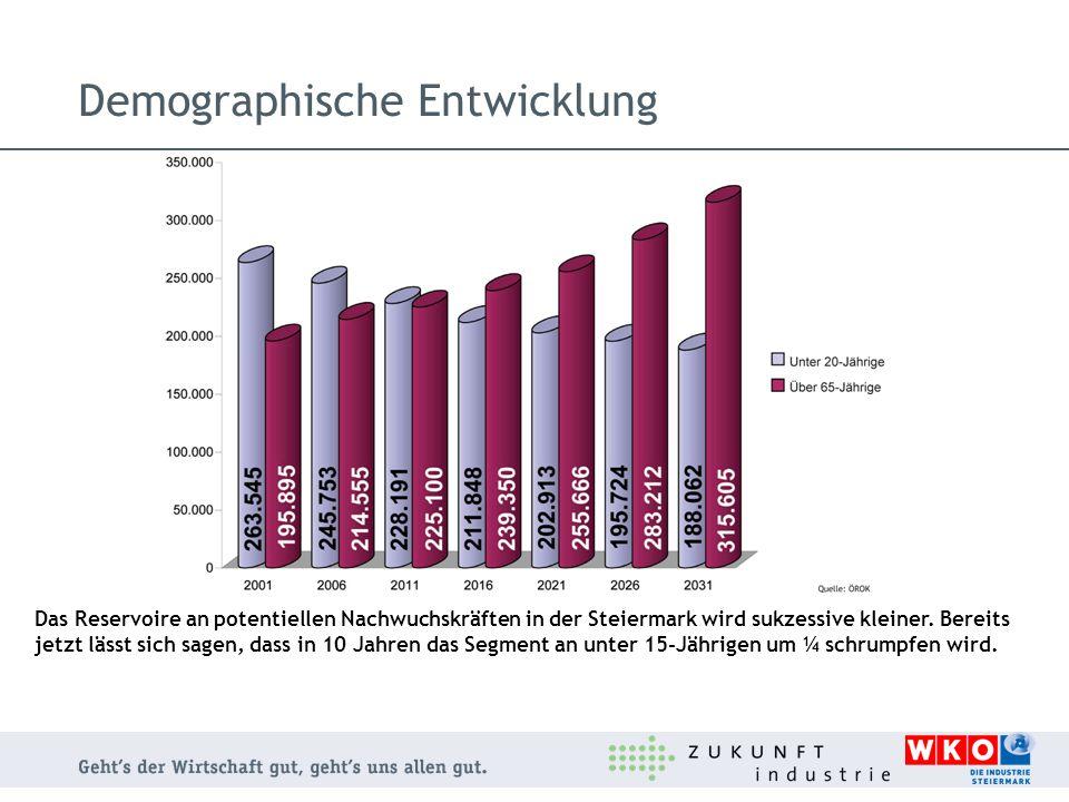Demographische Entwicklung Das Reservoire an potentiellen Nachwuchskräften in der Steiermark wird sukzessive kleiner. Bereits jetzt lässt sich sagen,
