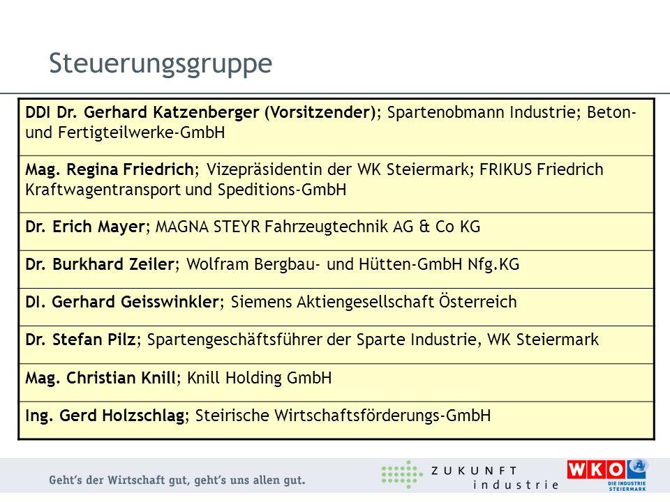 Steuerungsgruppe DDI Dr. Gerhard Katzenberger (Vorsitzender); Spartenobmann Industrie; Beton- und Fertigteilwerke-GmbH Mag. Regina Friedrich; Vizepräs