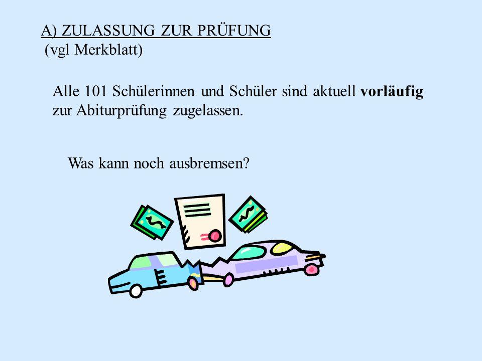 D) ABLAUF DER PRÜFUNG Kolloquium: Je 2 Kolloqiumsfächer mit jeweils einer 30 minütigen Prüfung.