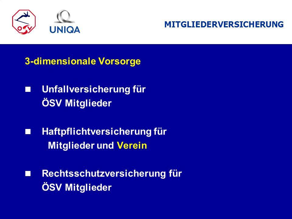 3-dimensionale Vorsorge n Unfallversicherung für ÖSV Mitglieder n Haftpflichtversicherung für Mitglieder und Verein n Rechtsschutzversicherung für ÖSV