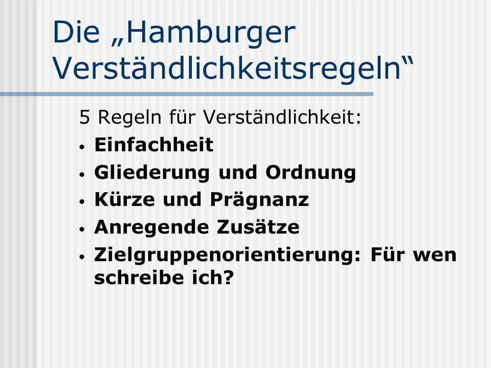 Die Hamburger Verständlichkeitsregeln 5 Regeln für Verständlichkeit: Einfachheit Gliederung und Ordnung Kürze und Prägnanz Anregende Zusätze Zielgruppenorientierung: Für wen schreibe ich?